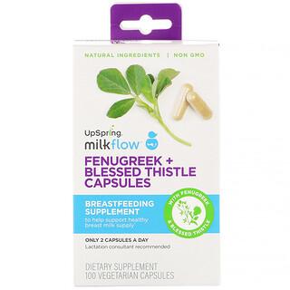 UpSpring, Milkflow, Fenugreek + Blessed Thistle, 100 Vegetarian Capsules