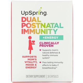 UpSpring, Suplemento inmunitario posparto dual más energía, 30cápsulas