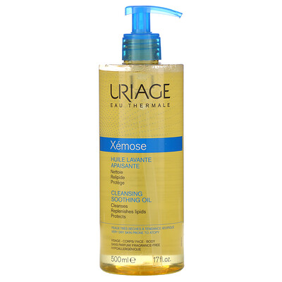Uriage Xemose, Cleansing Soothing Oil, Fragrance-Free, 17 fl oz (500 ml)