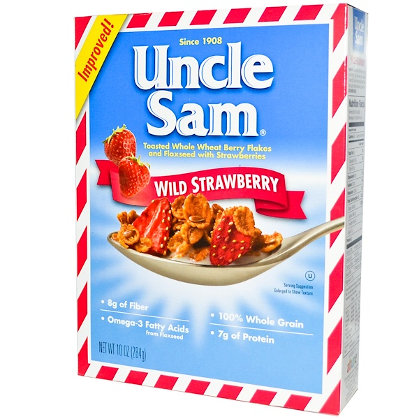 U.S Mills, Uncle Sam Cereal, Toasted Whole Wheat Berry Flakes and Flaxseed, Wild Strawberry, 10 oz (284 g) (Discontinued Item)