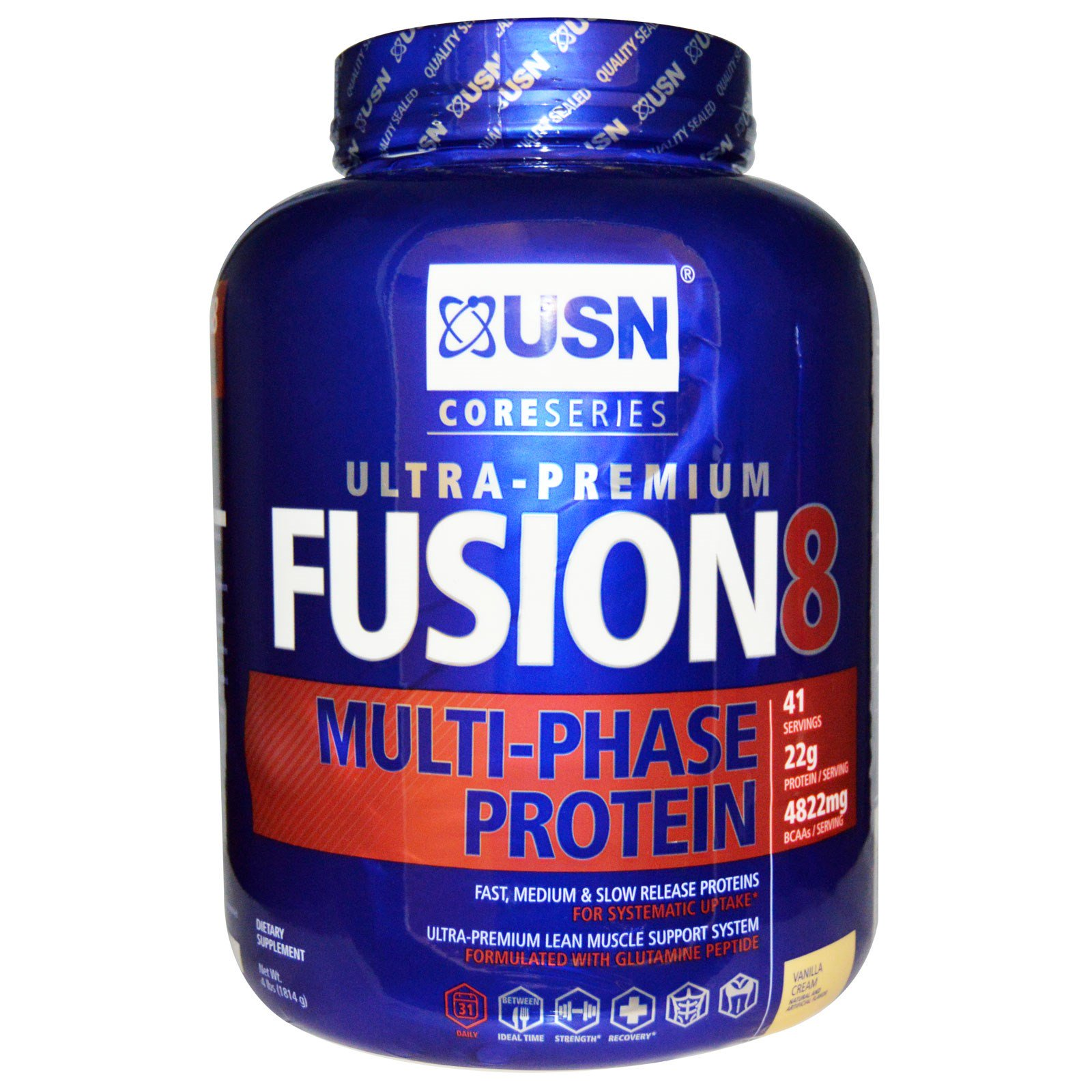 Usn Fusion 8 Multi Phase Protein Vanilla Cream 4 Lbs 1814 G Discontinued Item