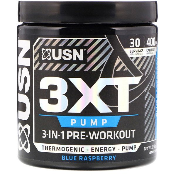 USN, 3XT- Pump, 3-In-1 Pre-Workout, Blue Raspberry, 6.56 oz (186 g) (Discontinued Item)
