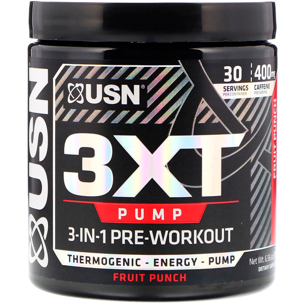USN, 3XT- Pump, 3-In-1 Pre-Workout, Fruit Punch, 6.56 oz (186 g) (Discontinued Item)
