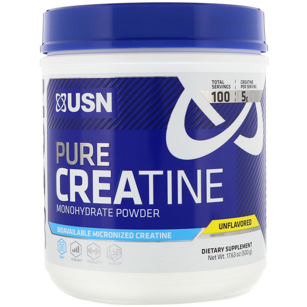 USN, Pure Creatine, Monohydrate Powder, Unflavored, 17.63 oz (500 g) (Discontinued Item)