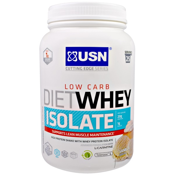 USN, Cutting Edge Series, Diet Whey Isolate, Low Carb, Vanilla, 1.54 lbs (700 g) (Discontinued Item)