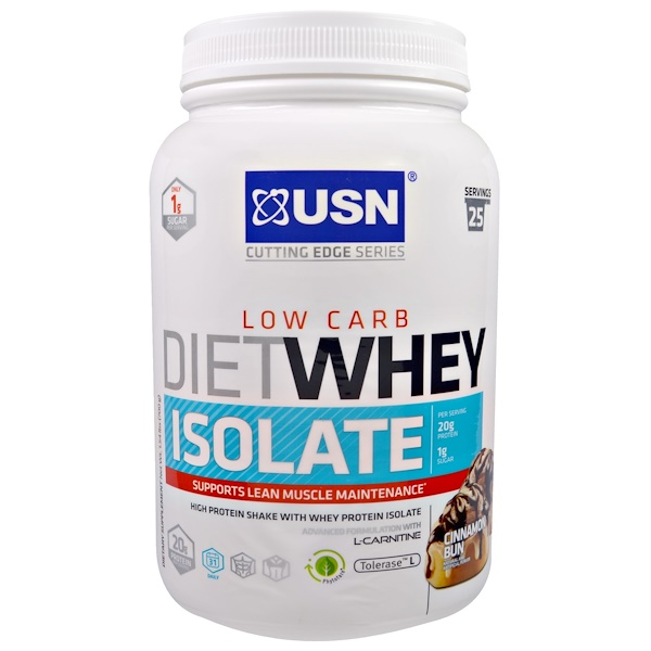 USN, Cutting Edge Series, Diet Whey Isolate, Low Carb, Cinnamon Bun, 1.54 lbs (700 g) (Discontinued Item)