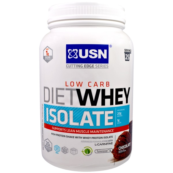 USN, Cutting Edge Series, Diet Whey Isolate, Low Carb, Chocolate, 1.59 lbs, (700 g) (Discontinued Item)