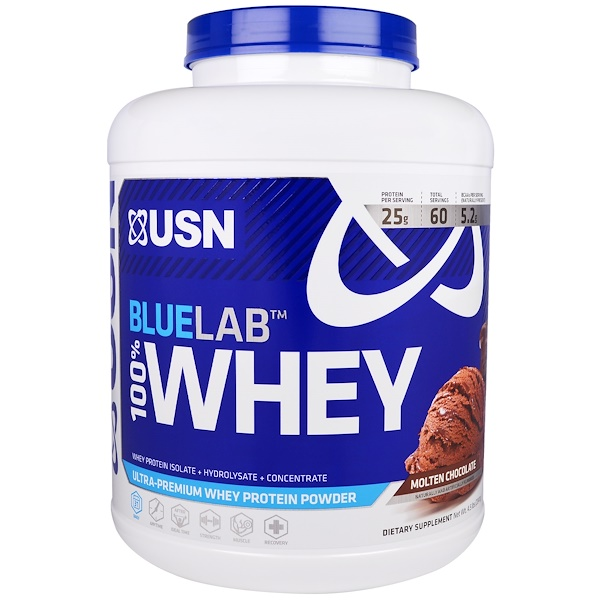 USN, Blue Lab 100% Whey, Molten Chocolate, 4.5 lbs (2041 g) (Discontinued Item)