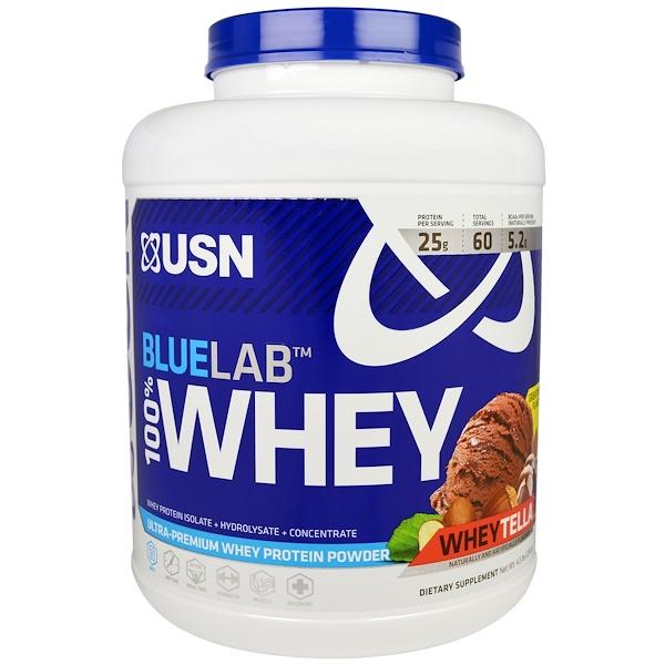 USN, Blue Lab, 100% Whey, WheyTella, 4.5 lbs (2041 g) (Discontinued Item)