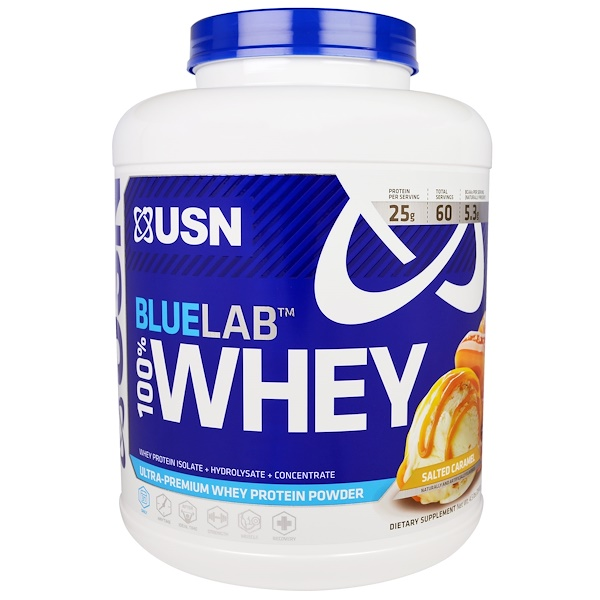 USN, BlueLab, 100% Whey, Salted Caramel, 4.5 lbs (2041 g) (Discontinued Item)