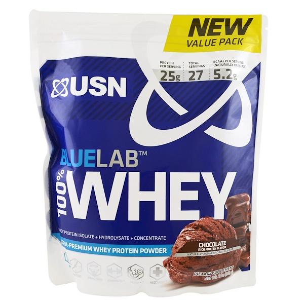 USN, BlueLab,100%乳清蛋白,巧克力味,2磅(918克)