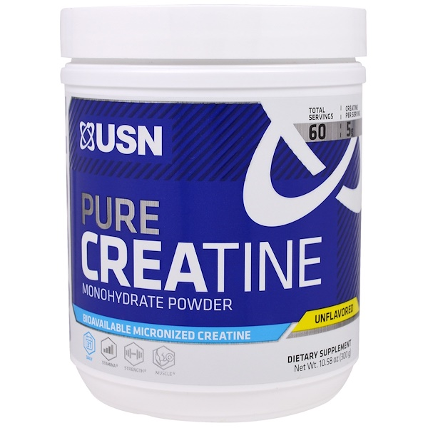 USN, Pure Creatine, Monohydrate Powder, Unflavored, 10.58 oz (300 g)