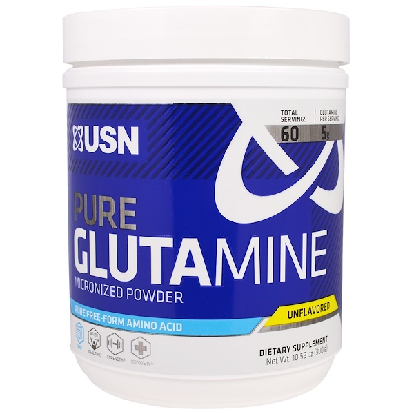 USN, Pure Glutamine Micronized Powder, Unflavored, 10.58 oz (300 g)