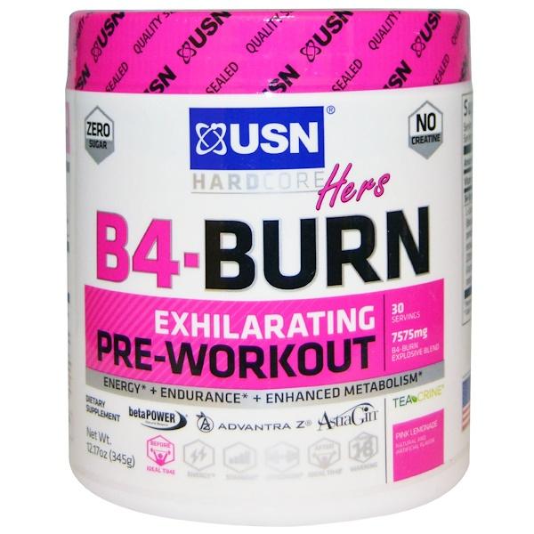 USN, Hers B4-Burn, Перед тренировкой, Розовый лимонад, 12,17 унции (345 г) (Discontinued Item)