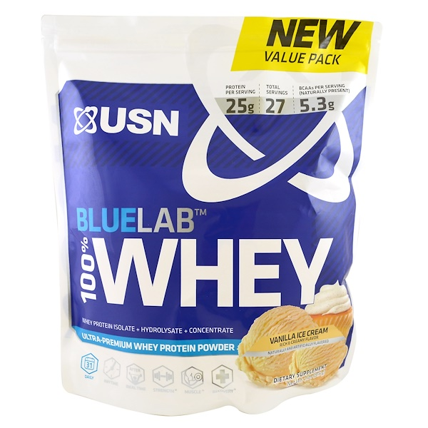 USN, BlueLab, 100% Whey Protein, Vanilla Ice Cream, 2 lbs (918 g) (Discontinued Item)