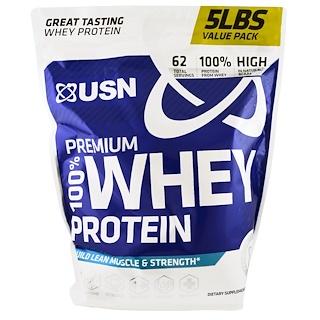 USN, 100% 프리미엄 유청 단백질, 초콜릿, 5 lbs (2.27 kg)