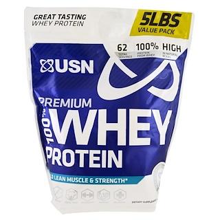 USN, 100% 프리미엄 유청 단백질, 생일 케이크, 5 lbs (2.27 kg)