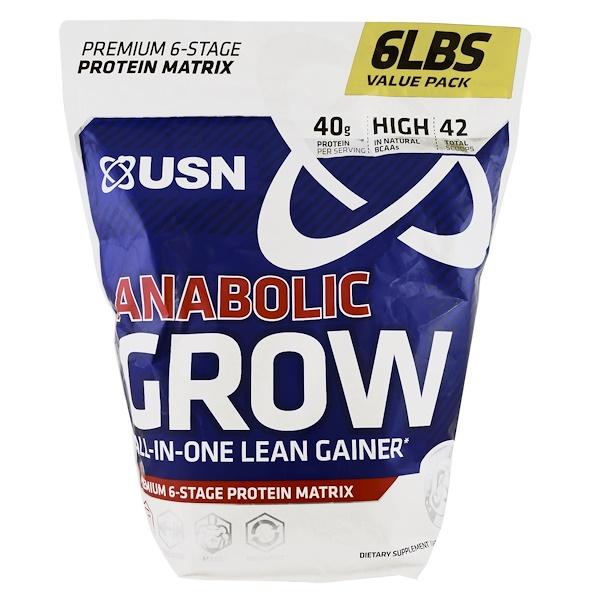 USN, Anabolic Grow, Vanilla Ice Cream, 6 lbs (2.73 g) (Discontinued Item)