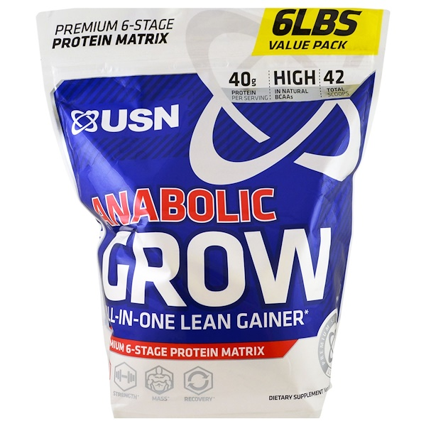 USN, Anabolic Grow, Cinnamon Bun, 6 lbs (2.73 kg) (Discontinued Item)