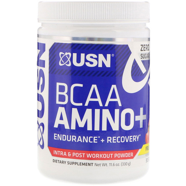 USN, BCAA Aminos Plus, Fruit Punch, 11、6 oz (330 g)