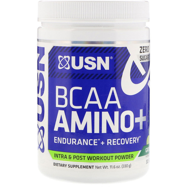 USN, BCAA Aminos Plus, Green Apple, 11.6 oz (330 g) (Discontinued Item)