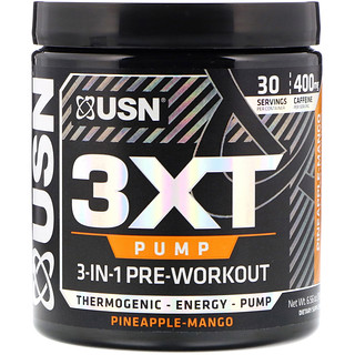 USN, 3XT- Pump, 3-In-1 Pre-Workout, Pineapple-Mango, 6.56 oz (186 g)