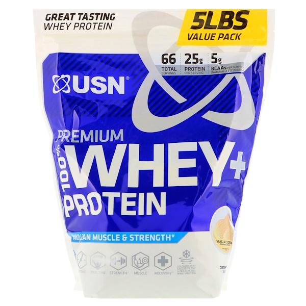 USN, 高品質100%ホエイ + プロテイン、バニラアイスクリーム、5 lbs (2.27 kg) (Discontinued Item)