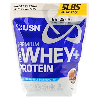 USN, プレミアム100%ホエイ + プロテイン、チョコレート、5 lbs (2.27 kg)