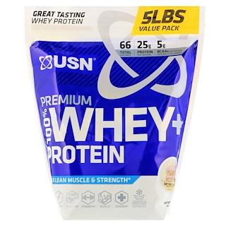 USN, ممتاز 100% مصل الحليب + البروتين، كعكة عيد ميلاد، 5 رطل (2.27 كجم)