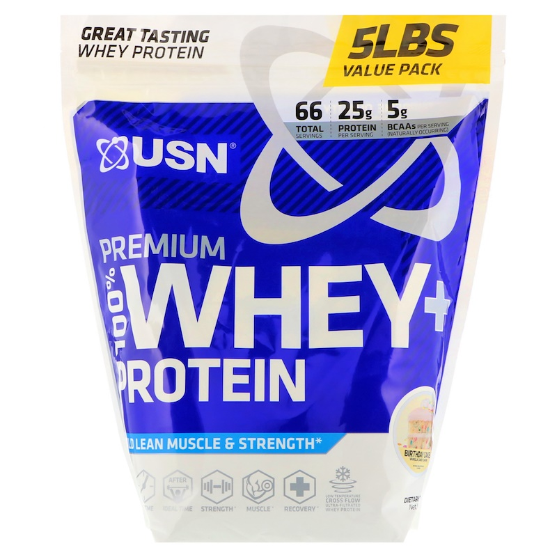 USN, Premium 100% Whey + Protein, Birthday Cake, 5 lbs (2.27 kg)