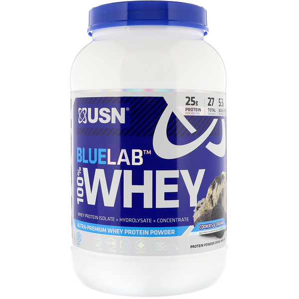 USN, 100 % suero de leche Blue Lab, galletas y crema, 2 lb (907.2 g) (Discontinued Item)