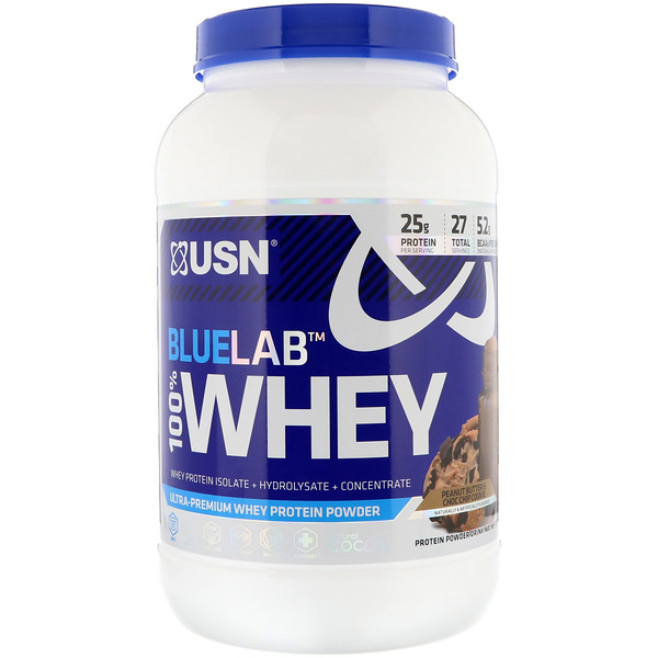 USN, BlueLab, 100% Whey, Peanut Butter & Choc Chip Cookie, 2 lbs (907.2 g)