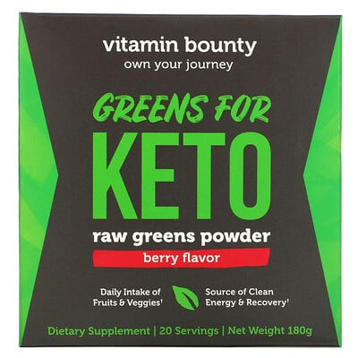 Vitamin Bounty Greens For Keto, Raw Greens Powder, Berry Flavor, 180 g