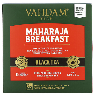 Купить Vahdam Teas Black Tea, Maharaja Breakfast, 15 Tea Bags, 1.06 oz (30 g)