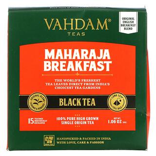 Vahdam Teas, 王公早餐红茶,15 茶包,1.06 盎司(30 克)