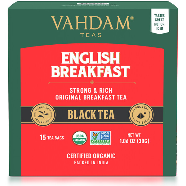 Vahdam Teas, черный чай, для английского завтрака, 15чайных пакетиков, 30г (1,06унции)