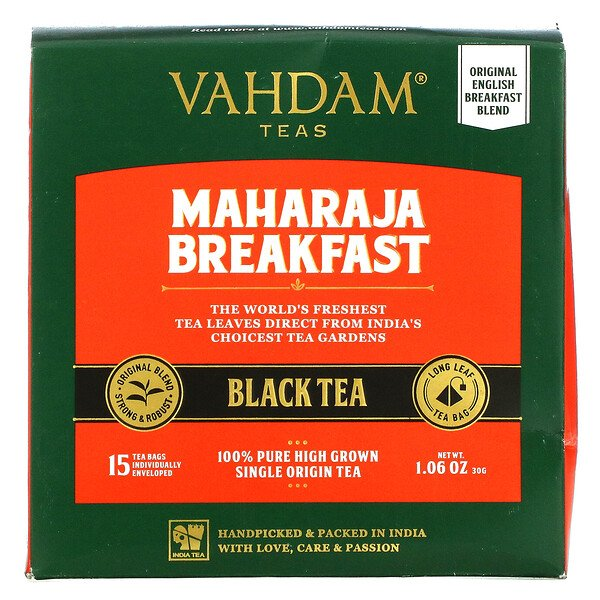 Maharaja Breakfast Black Tea, 15 Tea Bags, 1.06 oz (30 g)