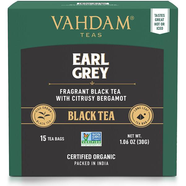 Black Tea, Earl Grey with Citrusy Bergamot, 15 Tea Bags, 1.06 oz (30 g)