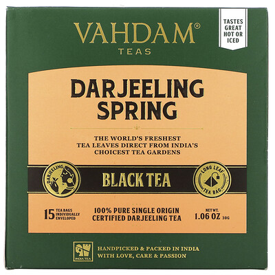 Купить Vahdam Teas First Flush Black Tea, Darjeeling, 30 Tea Bags, 1.06 oz (30 g)