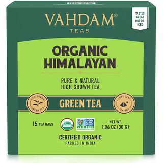 Vahdam Teas, зеленый чай, органический гималайский, 15чайных пакетиков, 30г (1,06унции)