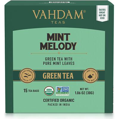 Купить Vahdam Teas Green Tea, Mint Melody, 15 Tea Bags, 1.06 oz (30 g)