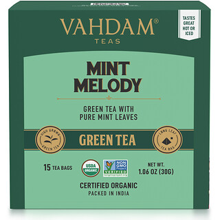 Vahdam Teas, Green Tea, Mint Melody, 15 Tea Bags, 1.06 oz (30 g)