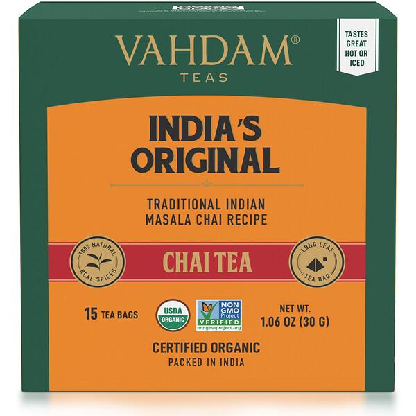 Vahdam Teas, India's Original, Chai Tea, 15 Tea Bags, 1.06 oz (30 g)