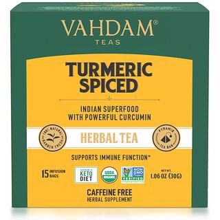 Vahdam Teas, Herbal Tea, Turmeric Spiced, Caffeine Free, 15 Tea Bags, 1.06 oz (30 g)