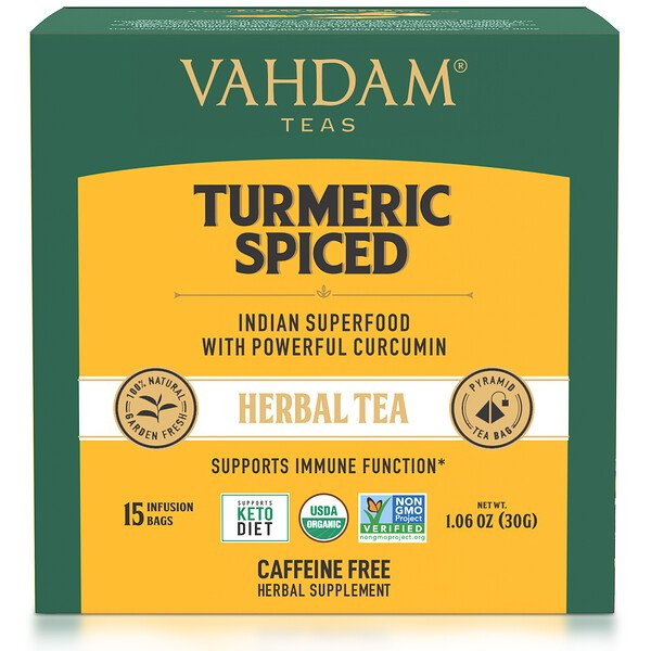 Vahdam Teas, Herbal Tea, Turmeric Spiced, Caffeine Free, 15 Tea Bags, 1.06 oz (30 g)