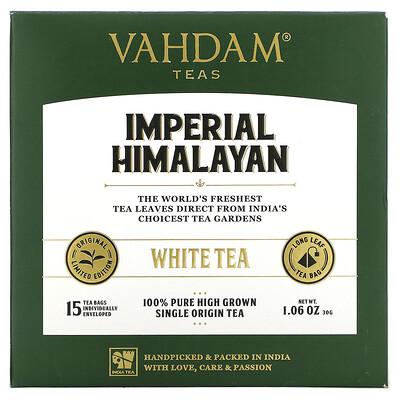 Купить Vahdam Teas White Tea, Imperial Himalayan, 15 Tea Bags, 1.06 oz (30 g)