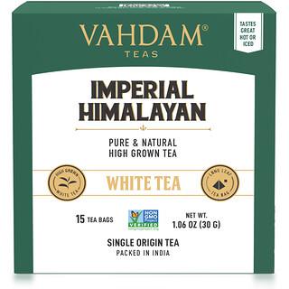 Vahdam Teas, White Tea, Imperial Himalayan, 15 Tea Bags, 1.06 oz (30 g)