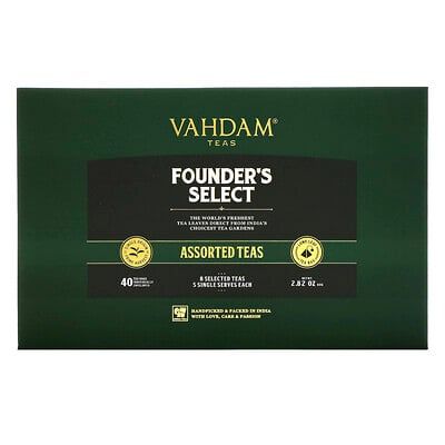 Купить Vahdam Teas Founder's Select, Assorted Teas, 40 Tea Bags, 2.8 oz (80 g)