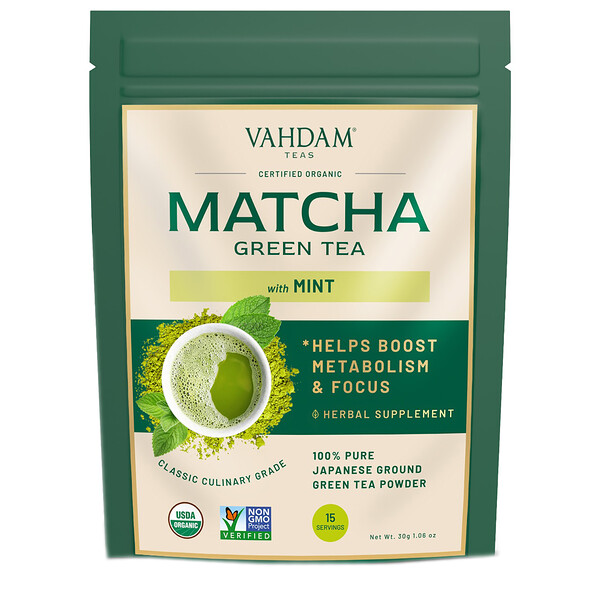 зеленый чай в порошке, мята и матча, 50г (1,76унции)