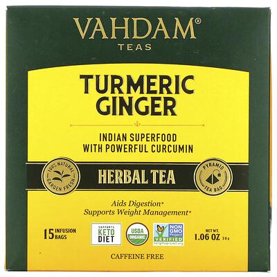 Купить Vahdam Teas Herbal Tea, Turmeric Ginger, Caffeine Free, 5 Infusion Bags, 1.06 oz (30 g)